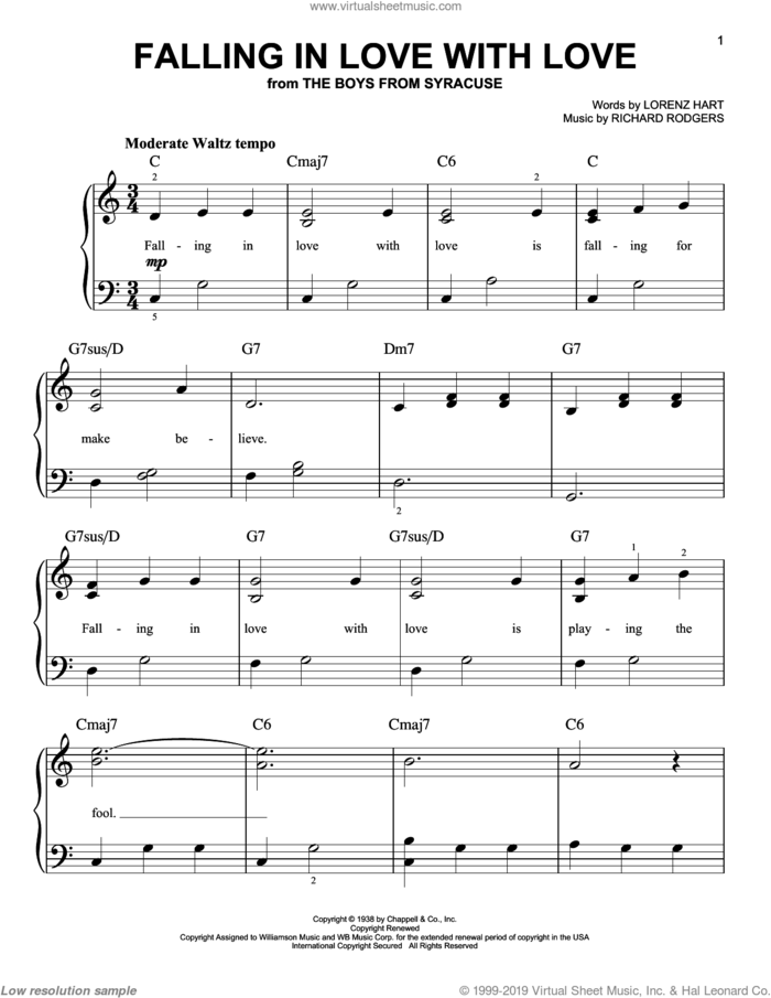 Falling In Love With Love, (easy) sheet music for piano solo by Rodgers & Hart, Lorenz Hart and Richard Rodgers, easy skill level