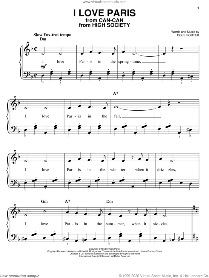 I Love Paris, (easy) sheet music for piano solo by Cole Porter and Frank Sinatra, easy skill level