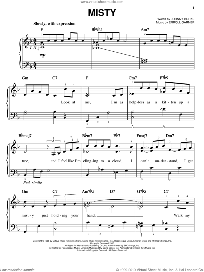 Misty sheet music for piano solo by Erroll Garner, Johnny Mathis, Ray Stevens, Sarah Vaughan and John Burke, easy skill level