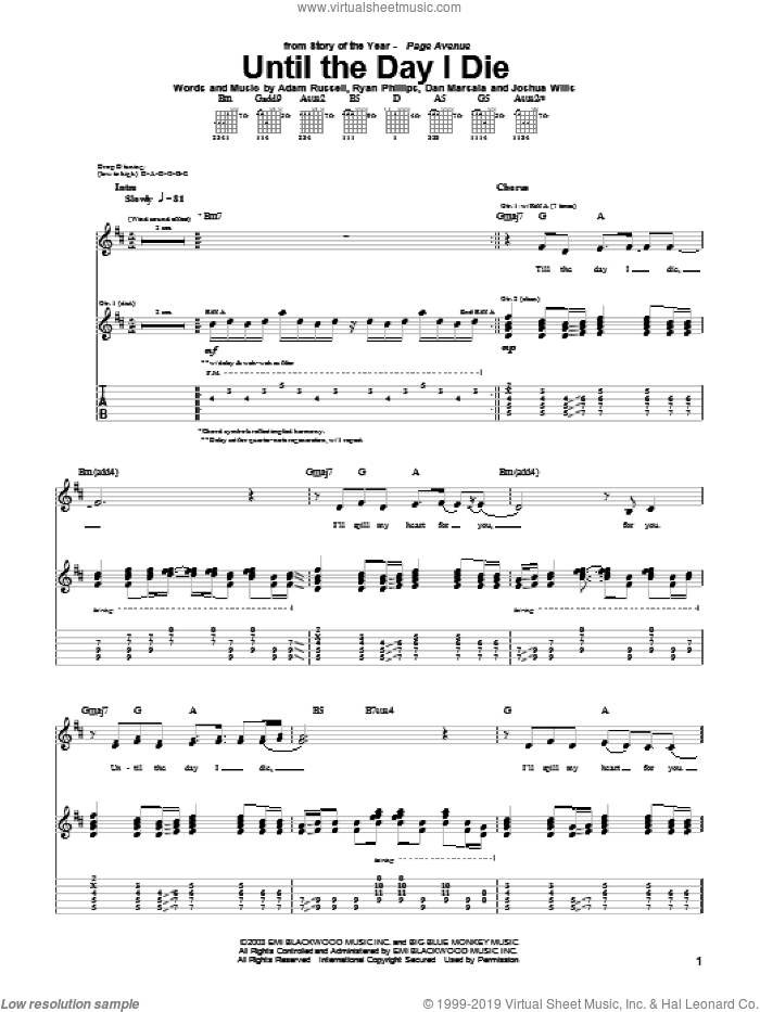 Until The Day I Die sheet music for guitar (tablature) by Story Of The Year, Adam Russell, Dan Marsala and Ryan Phillips, intermediate skill level