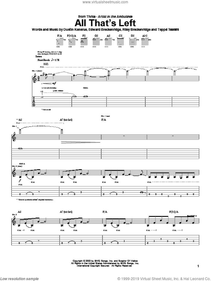 All That's Left sheet music for guitar (tablature) by Thrice, Dustin Kensrue, Edward Breckenridge and Riley Breckenridge, intermediate skill level