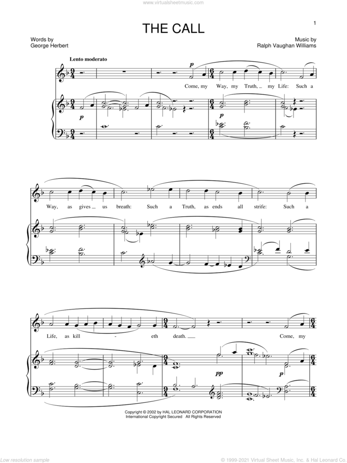 The Call sheet music for voice and piano by Ralph Vaughan Williams, intermediate skill level