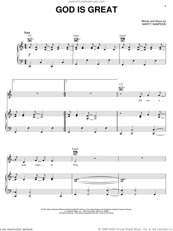 God Is Great sheet music for voice, piano or guitar by Marty Sampson, intermediate skill level