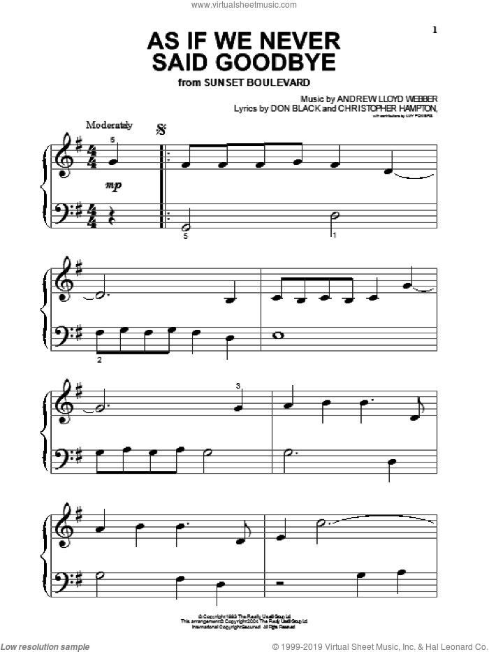 As If We Never Said Goodbye sheet music for piano solo (big note book) by Andrew Lloyd Webber, Sunset Boulevard (Musical), Christopher Hampton and Don Black, easy piano (big note book)