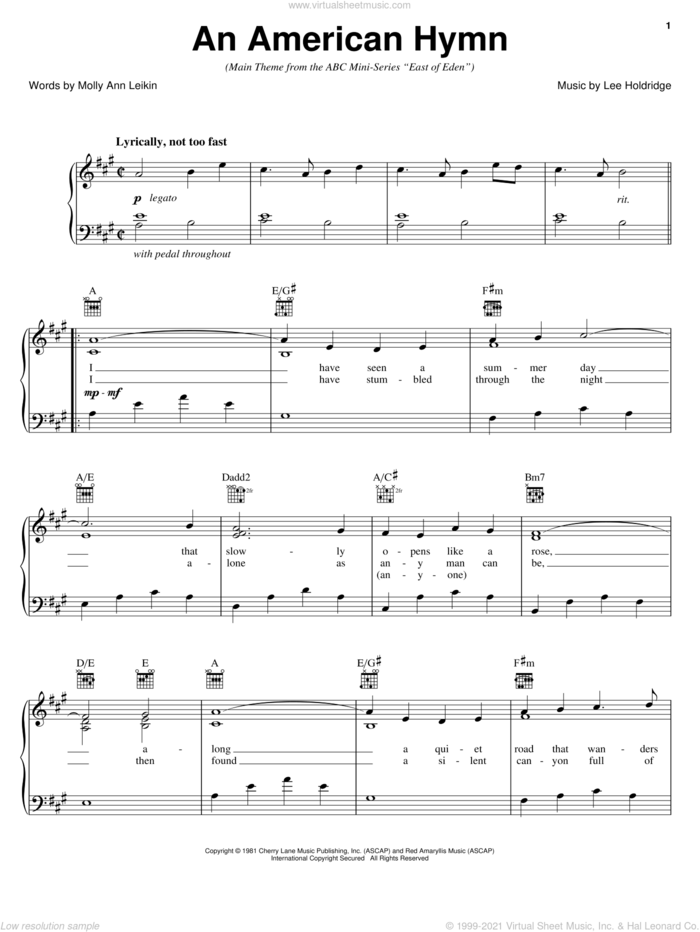 An American Hymn sheet music for voice, piano or guitar by Lee Elwood Holdridge and Molly Ann Leiken, intermediate skill level