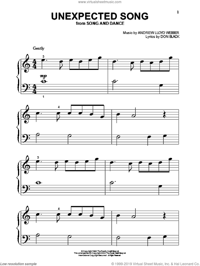 Unexpected Song (from Song and Dance) sheet music for piano solo (big note book) by Bernadette Peters, Song And Dance (Musical), Andrew Lloyd Webber and Don Black, easy piano (big note book)