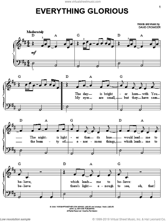 Everything Glorious sheet music for piano solo by David Crowder Band and David Crowder, easy skill level