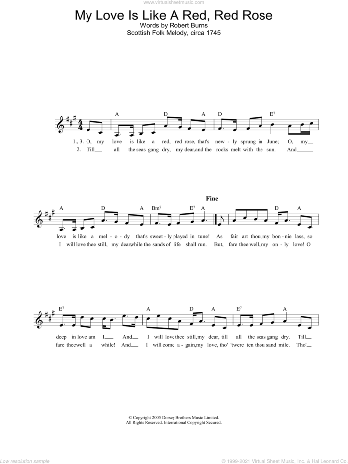 My Love Is Like A Red, Red Rose sheet music for voice and other instruments (fake book) by Robert Burns and Miscellaneous, intermediate skill level