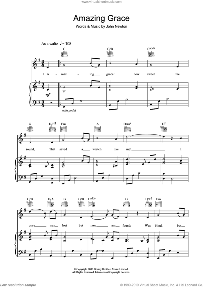 Amazing Grace sheet music for voice, piano or guitar by John Newton and Miscellaneous, intermediate skill level