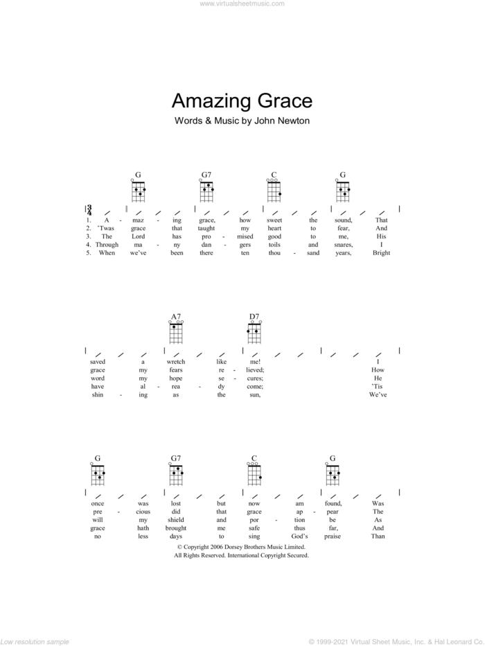 Amazing Grace sheet music for ukulele (chords) by John Newton, intermediate skill level