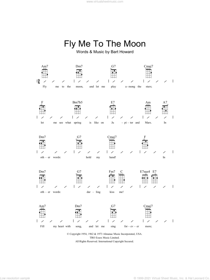 Fly Me To The Moon (In Other Words) sheet music for ukulele (chords) by Frank Sinatra and Bart Howard, wedding score, intermediate skill level