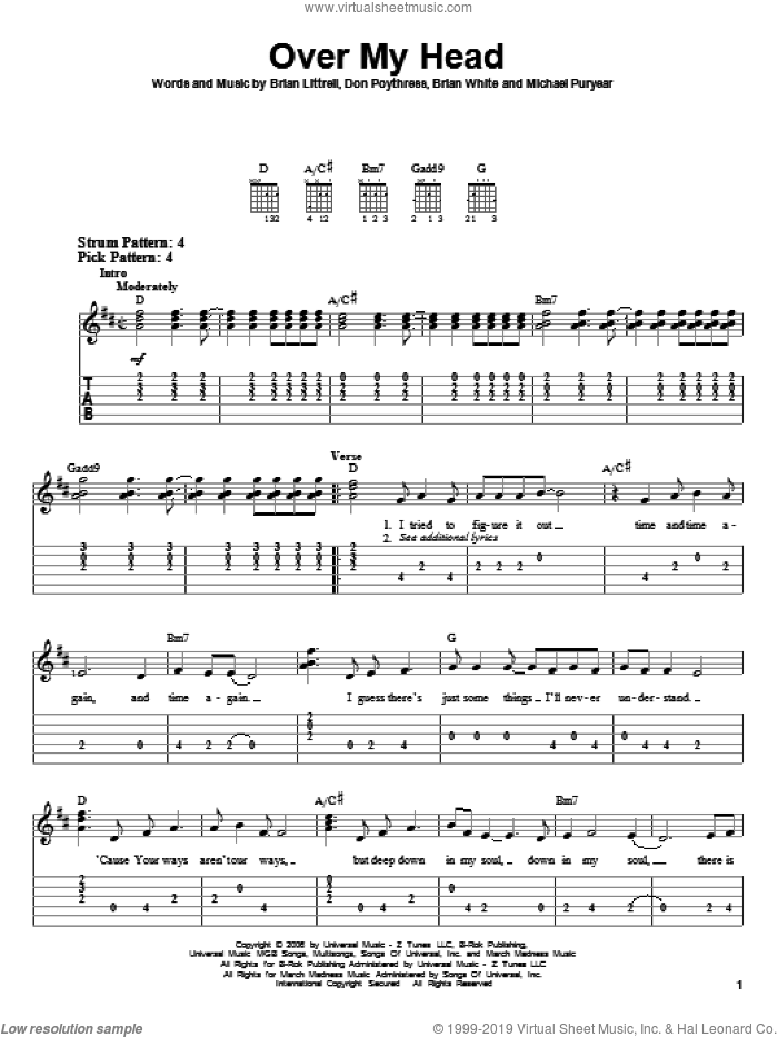 Over My Head sheet music for guitar solo (easy tablature) by Brian Littrell, Bryan White, Don Poythress and Michael Puryear, easy guitar (easy tablature)