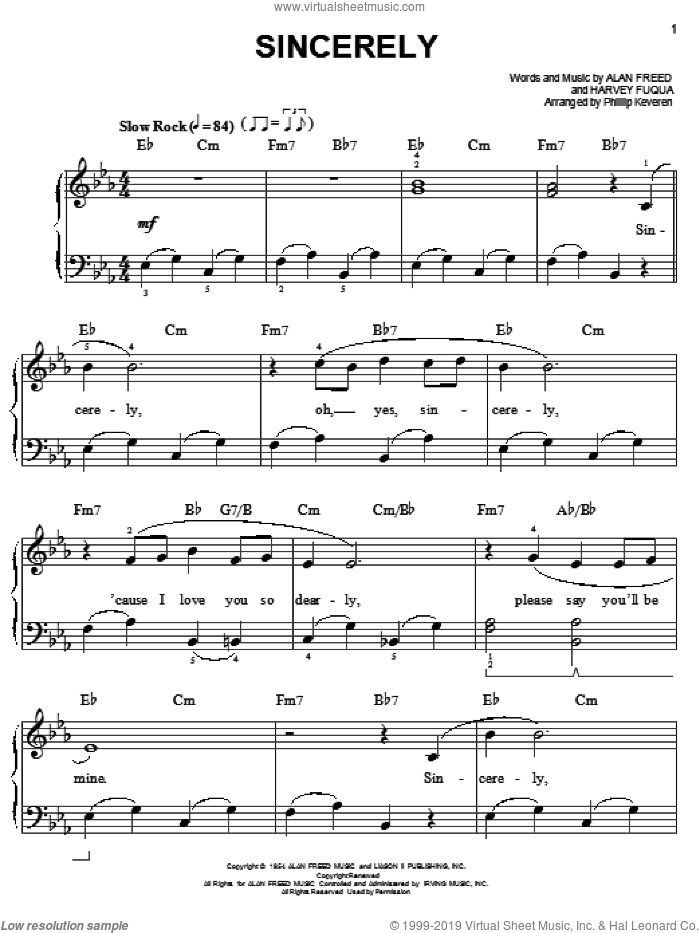 Sincerely sheet music for piano solo by McGuire Sisters, Phillip Keveren, Alan Freed and Harvey Fuqua, easy skill level