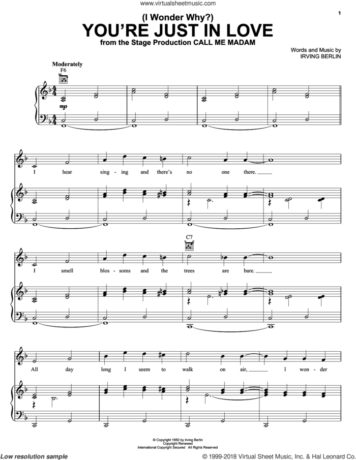 (I Wonder Why?) You're Just In Love sheet music for voice, piano or guitar by Irving Berlin, intermediate skill level