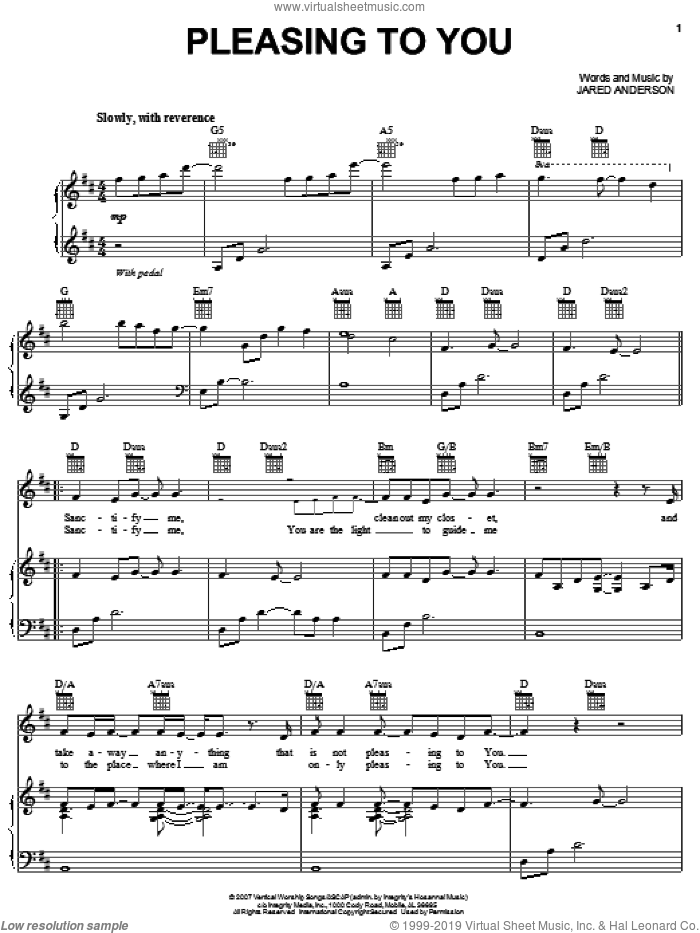 Pleasing To You sheet music for voice, piano or guitar by Jared Anderson, intermediate skill level