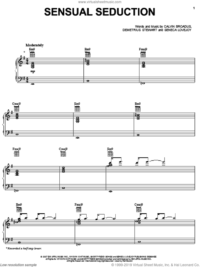Sensual Seduction sheet music for voice, piano or guitar by Snoop Dogg, Calvin Broadus, Demetrius Stewart and Seneca Lovejoy, intermediate skill level