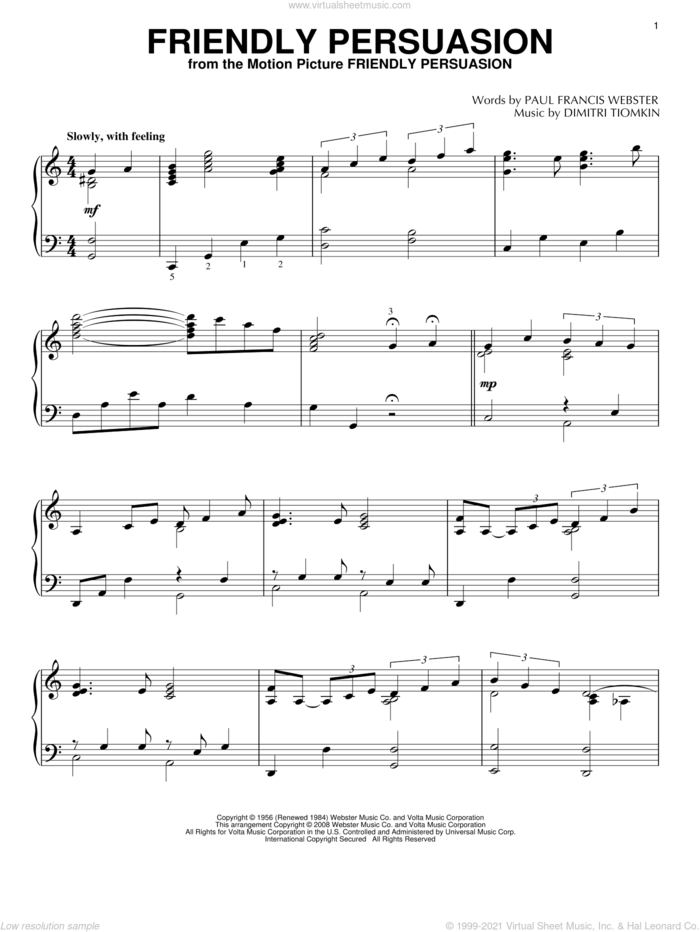 Friendly Persuasion sheet music for piano solo by Pat Boone, Dimitri Tiomkin and Paul Francis Webster, intermediate skill level