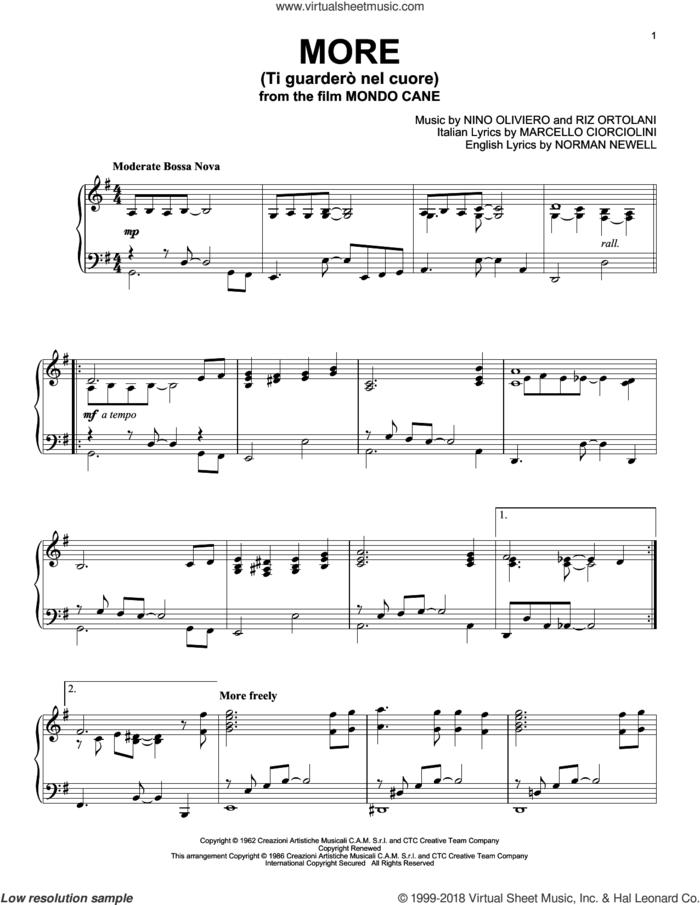 More (Ti Guardero Nel Cuore) sheet music for piano solo by Marcello Ciorciolini, Nino Oliviero, Norman Newell and Riz Ortolani, intermediate skill level