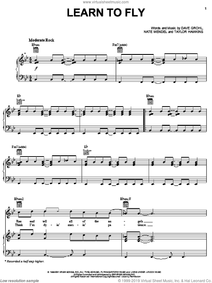 Learn To Fly sheet music for voice, piano or guitar by Foo Fighters, Dave Grohl, Nate Mendel and Taylor Hawkins, intermediate skill level