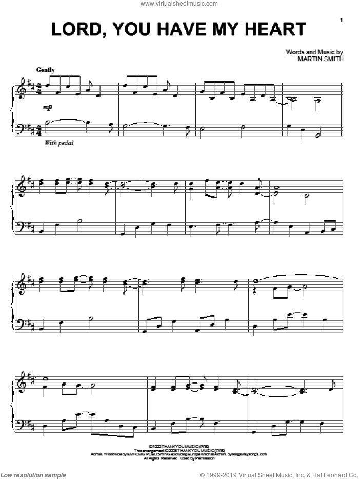 Lord, You Have My Heart sheet music for piano solo by Delirious? and Martin Smith, intermediate skill level