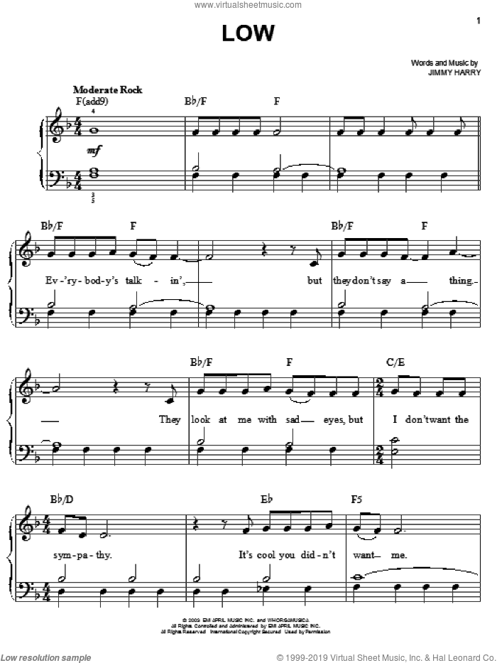Low sheet music for piano solo by Kelly Clarkson and Jimmy Harry, easy skill level