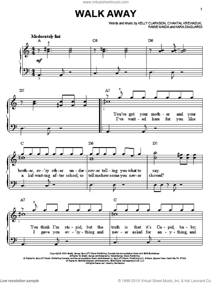 Walk Away sheet music for piano solo by Kelly Clarkson, Kara DioGuardi, Chantal Kreviazuk and Raine Maida, easy skill level