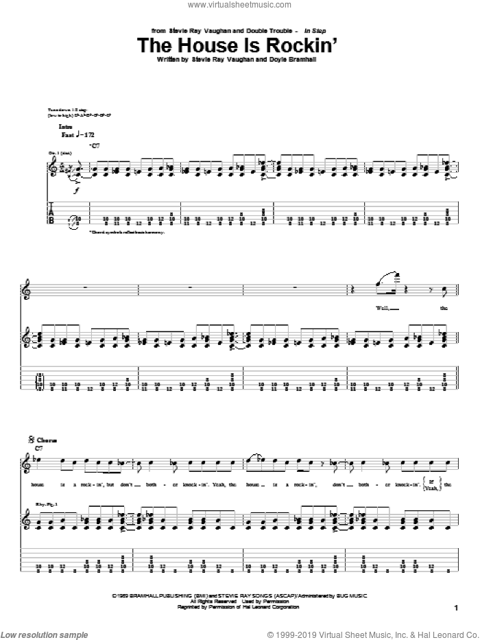 The House Is Rockin' sheet music for guitar (tablature) by Stevie Ray Vaughan and Doyle Bramhall, intermediate skill level