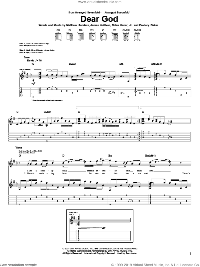 Dear God sheet music for guitar (tablature) by Avenged Sevenfold, Brian Haner, Jr., James Sullivan, Matthew Sanders and Zachary Baker, intermediate skill level