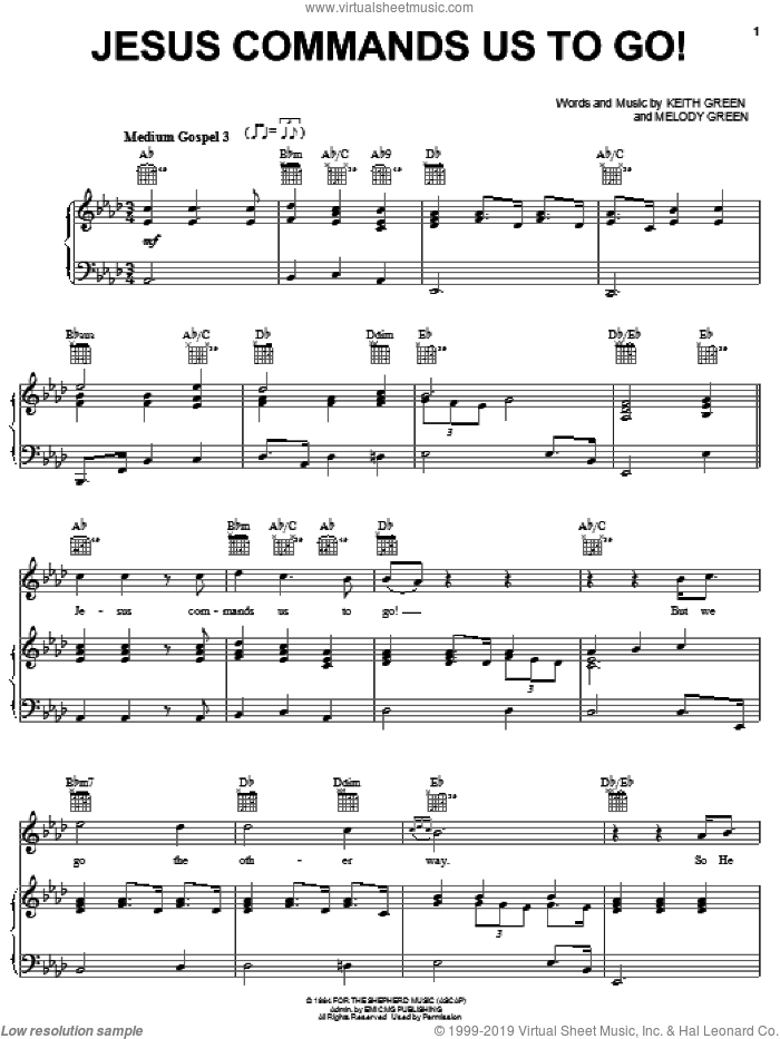 Jesus Commands Us To Go sheet music for voice, piano or guitar by Keith Green and Melody Green, intermediate skill level