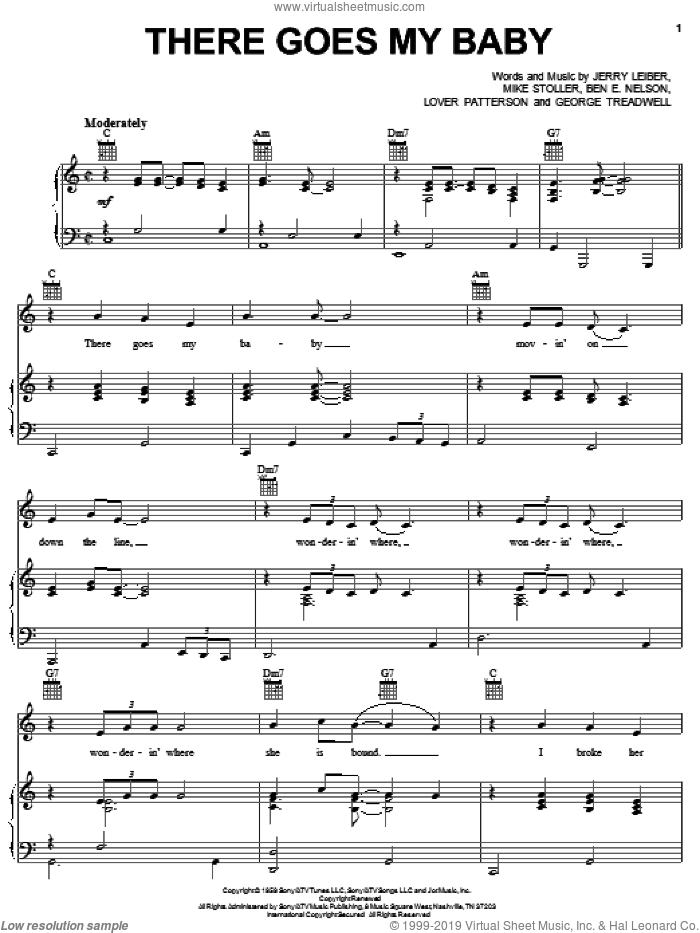 There Goes My Baby sheet music for voice, piano or guitar by The Drifters, Benjamin Nelson, George Treadwell, Jerry Leiber, Lover Patterson and Mike Stoller, intermediate skill level