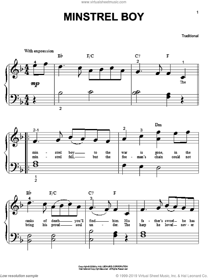 Minstrel Boy sheet music for piano solo (big note book), easy piano (big note book)