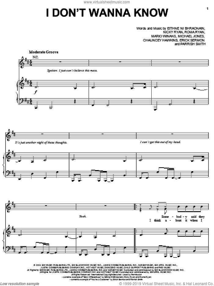 I Don't Wanna Know sheet music for voice, piano or guitar by Mario Winans, Enya, P. Diddy, Eithne Ni Bhraonain, Nicky Ryan and Roma Ryan, intermediate skill level