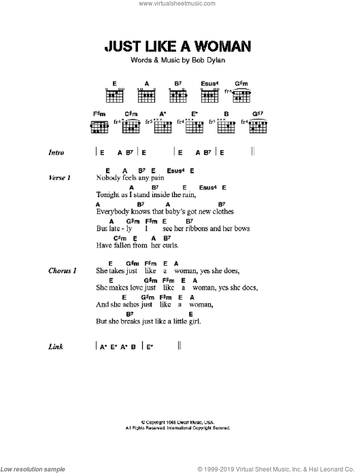 Just Like A Woman sheet music for guitar (chords) by Jeff Buckley and Bob Dylan, intermediate skill level