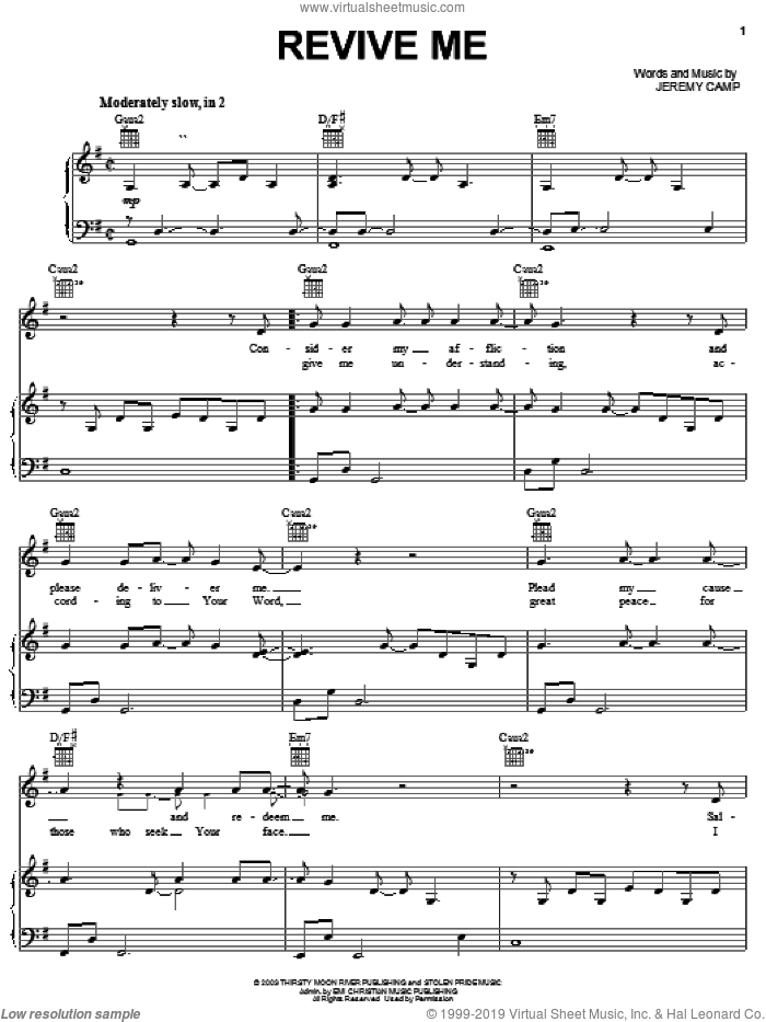 Revive Me sheet music for voice, piano or guitar by Jeremy Camp, intermediate skill level