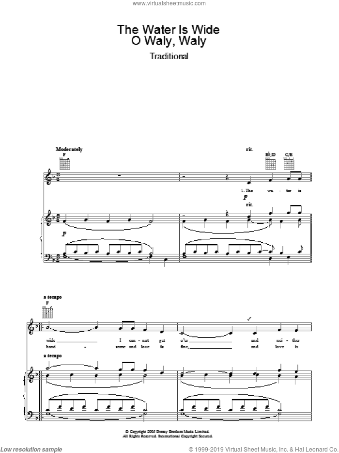 The Water Is Wide sheet music for voice, piano or guitar, intermediate skill level