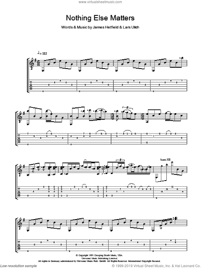 Nothing Else Matters sheet music for guitar (tablature) by Lucie Silvas, James Hetfield and Lars Ulrich, intermediate skill level