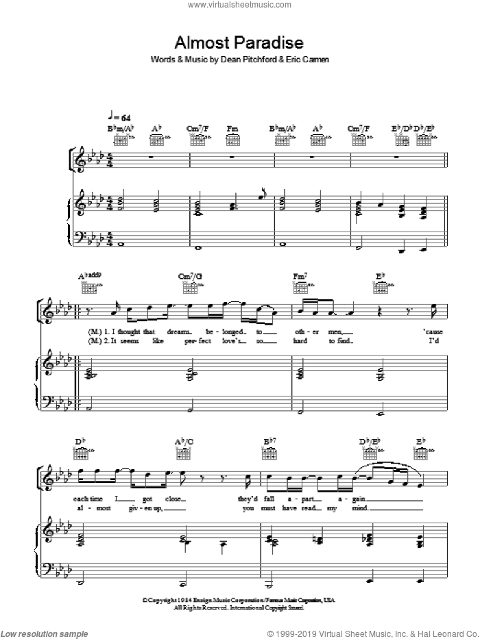 Almost Paradise sheet music for voice, piano or guitar by Mike Reno, Dean Pitchford and Eric Carmen, intermediate skill level
