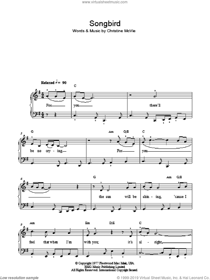 Songbird sheet music for piano solo by Eva Cassidy and Christine McVie, easy skill level