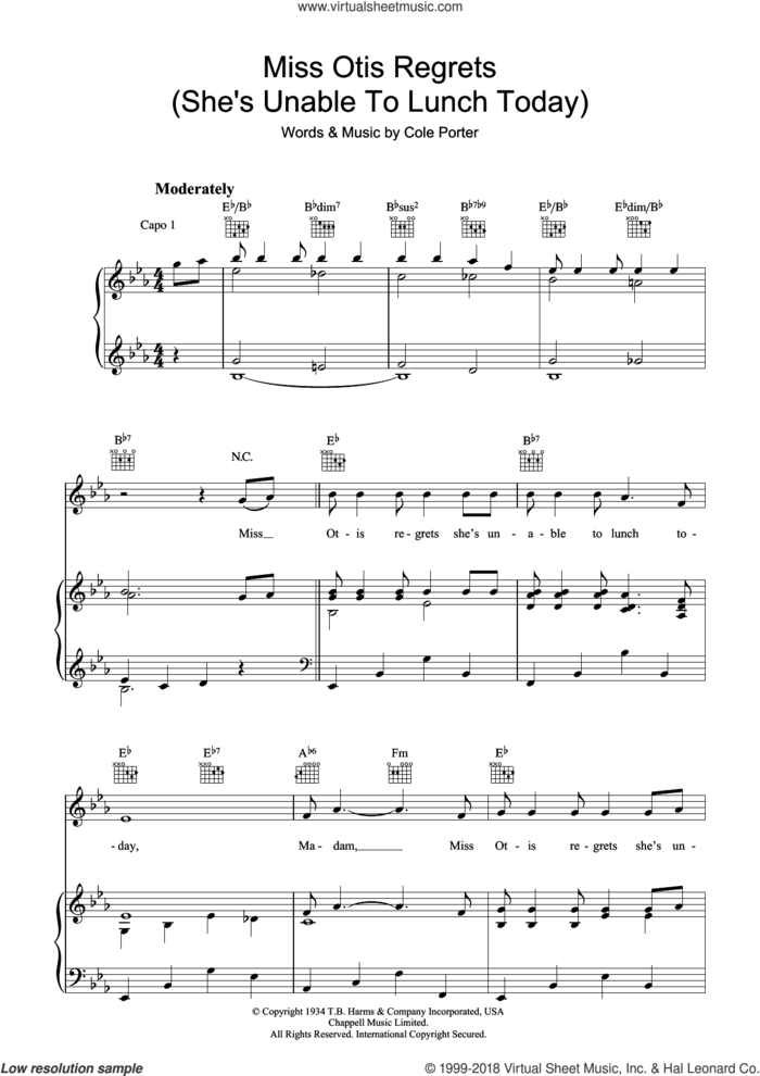 Miss Otis Regrets sheet music for voice, piano or guitar by Cole Porter, intermediate skill level