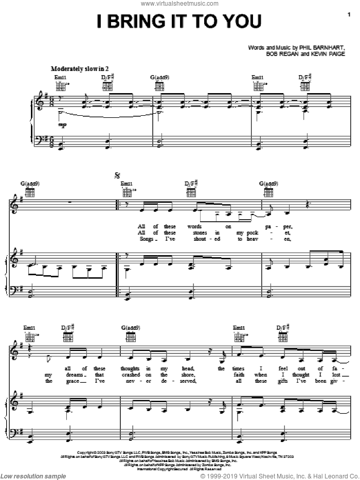 I Bring It To You sheet music for voice, piano or guitar by Avalon, Bob Regan, Kevin Paige and Phil Barnhart, intermediate skill level