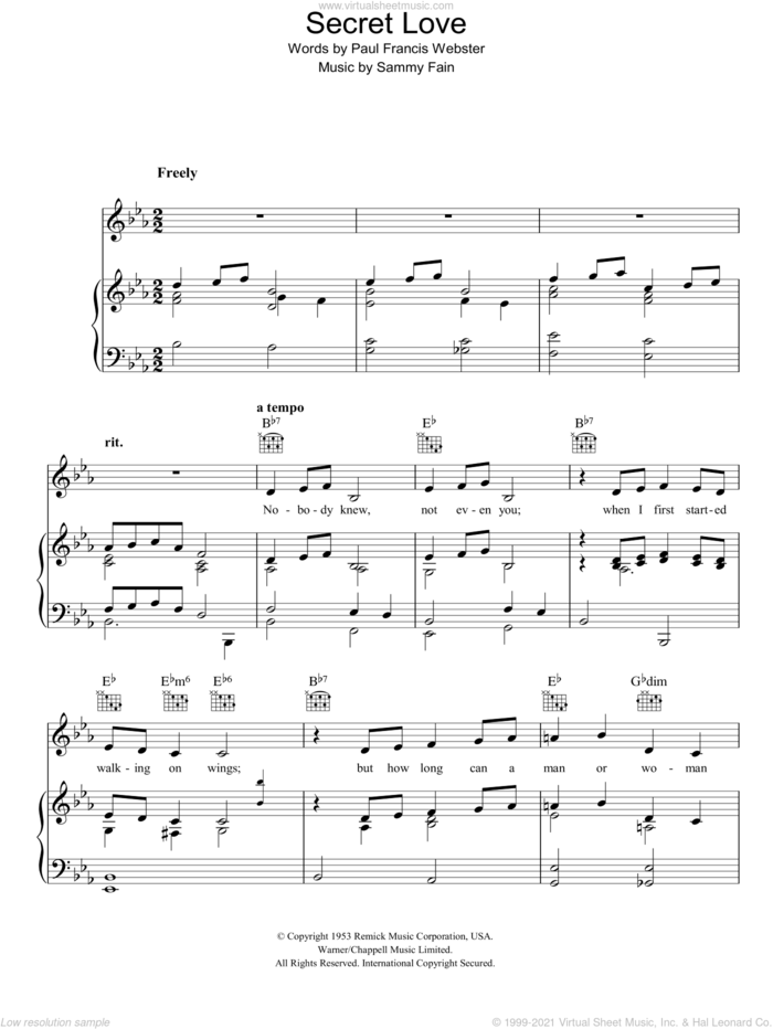 Secret Love sheet music for voice, piano or guitar by Sammy Fain and Paul Francis Webster, intermediate skill level