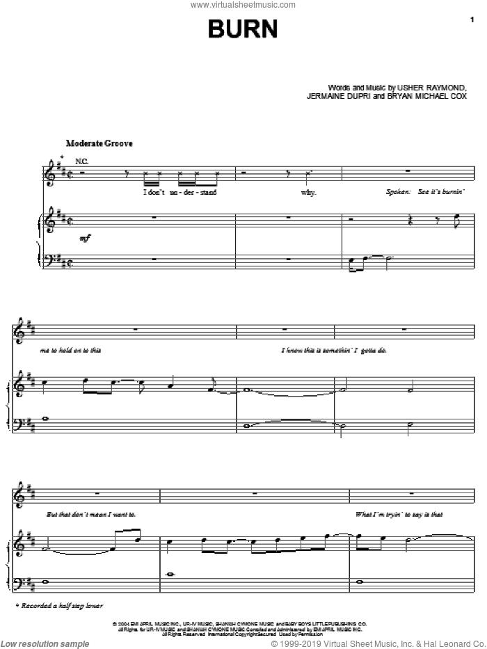 Burn sheet music for voice, piano or guitar by Bryan Michael Cox, Gary Usher, Jermaine Dupri and Usher Raymond, intermediate skill level