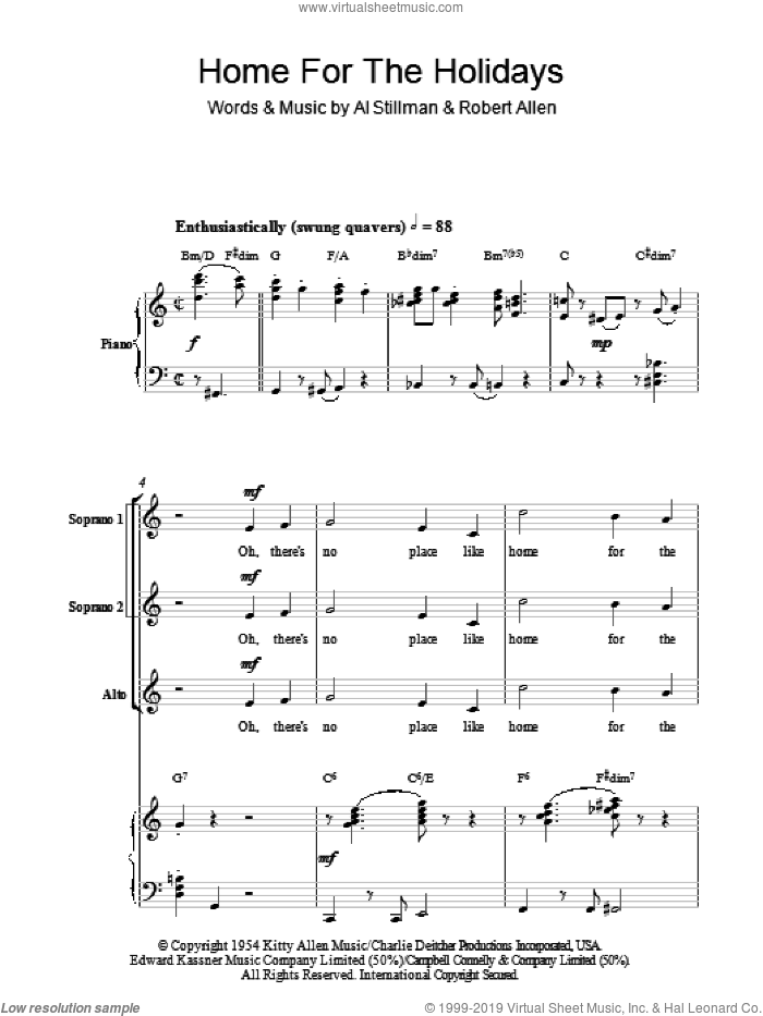 (There's No Place Like) Home For The Holidays (arr. Berty Rice) sheet music for choir (SSA: soprano, alto) by Perry Como, Berty Rice, Al Stillman and Robert Allen, intermediate skill level
