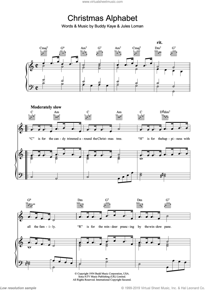Christmas Alphabet sheet music for voice, piano or guitar by Buddy Kaye and Jules Loman, intermediate skill level