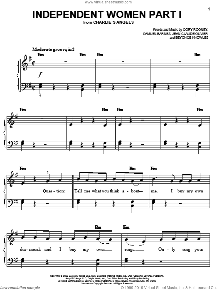 Independent Women Part I sheet music for piano solo by Destiny's Child, Cory Rooney, Jean Claude Olivier and Samuel Barnes, easy skill level