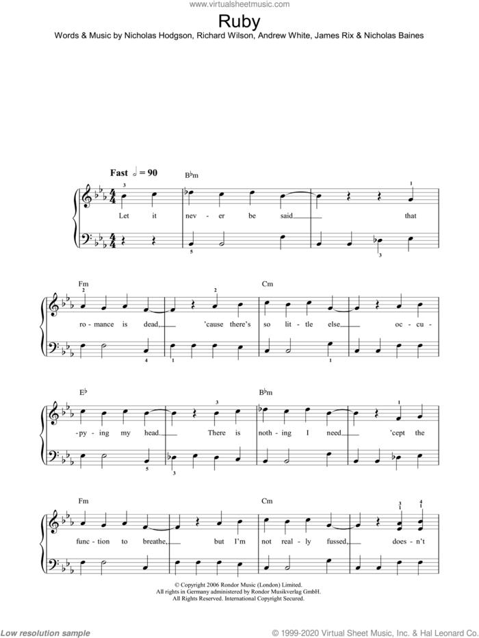 Ruby sheet music for piano solo by Kaiser Chiefs, Andrew White, James Rix, Nicholas Baines, Nicholas Hodgson and Richard Wilson, easy skill level
