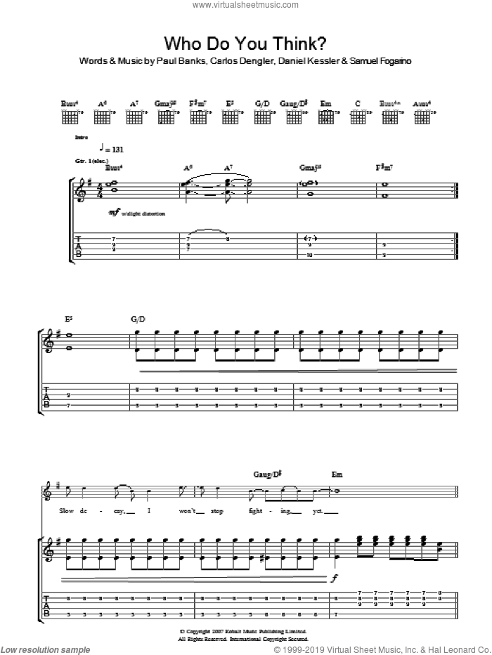 Who Do You Think sheet music for guitar (tablature) by Interpol, Carlos Dengler, Daniel Kessler, Paul Banks and Samuel Fogarino, intermediate skill level