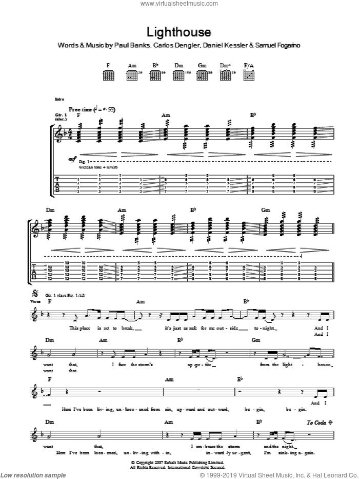 The Lighthouse sheet music for guitar (tablature) by Interpol, Carlos Dengler, Daniel Kessler, Paul Banks and Samuel Fogarino, intermediate skill level