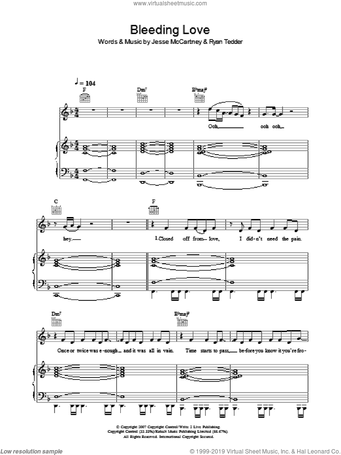 Bleeding Love sheet music for voice, piano or guitar by Leona Lewis, Jesse McCartney and Ryan Tedder, intermediate skill level
