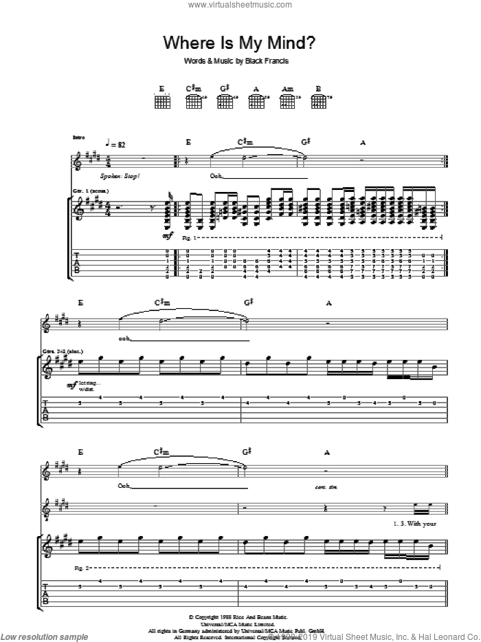 Where Is My Mind? sheet music for guitar (tablature) by Pixies and Francis Black, intermediate skill level
